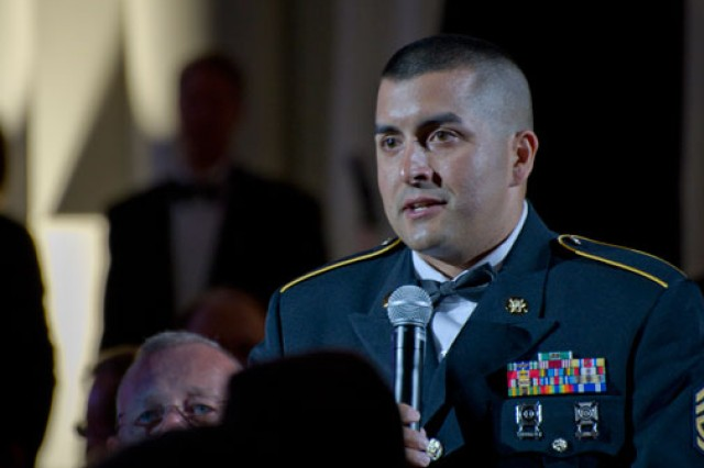 Sgt. 1st Class Leo Hess, an Army reservist and firefighter with the Gilbert, Ariz., fire department, explains why he nominated the town of Gilbert for the Employer Support of the Guard and Reserve Freedom award during a recognition ceremony at the Ronald Reagan Building and International Trade Center in Washington, D.C.,  Sept. 22, 2011.