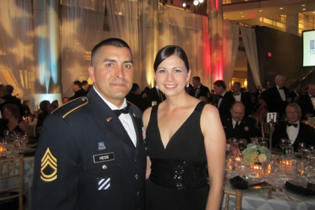 Sgt. 1st Class Leo Hess, an Army reservist and firefighter stationed with the Gilbert, Ariz. Fire department, and his wife Tamara, attend the 2011 Employers Support of the Guard and Reserve  Freedom award ceremony, Sept. 22, 2011.