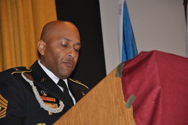 Command Sgt. Maj. James P. Norman, command sergeant major, United States Army Japan served as the host for the noncommissioned officer induction ceremony at Misawa, Japan.