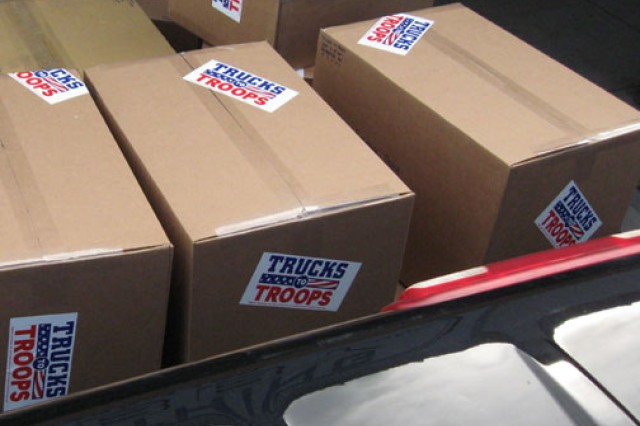 Trucks have been boxed, labeled and loaded for shipping. Trucks to Troops, a nonprofit organization, sends remote-controlled trucks to deployed troops. Soldiers use the trucks to search vehicles and roadsides for suspicious materials.