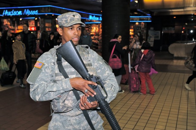 New York National Guard On Duty in New York City on New Year's Eve
