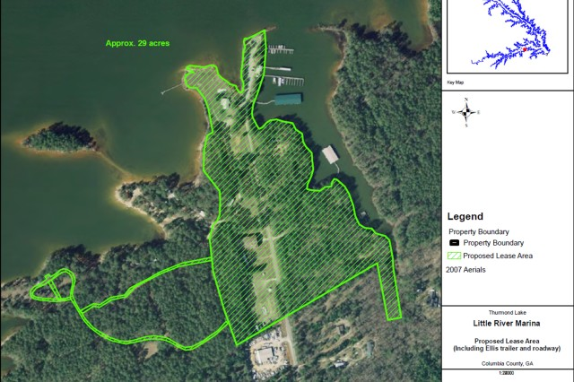 The 29-acre Little River Marina site on J. Strom Thurmond Dam and Lake includes roads, an access ramp and buildings near Appling, Ga.