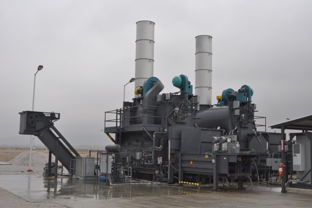 The $5.5 million trash disposal plant features twin incinerators that were shipped to Afghanistan from Richmond, Va.  The construction work is being handled by Ankara, Turkey-based EMTA AFCON JV.
