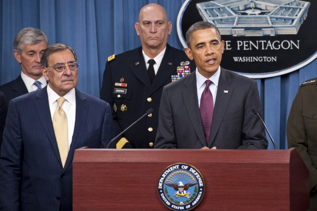 President Barrack Obama, right, briefs the press with Defense Secretary Leon E. Panetta, left, at the Pentagon, Jan. 5, 2012. Obama, Panetta and Army Gen. Martin Dempsey, chairman of the Joint Chiefs of Staff, delivered remarks on the Defense Strategic Guidance for the Defense Department going forward. Army Secretary John McHugh and Army Chief of Staff Raymond T. Odierno stand behind Panetta and Obama.