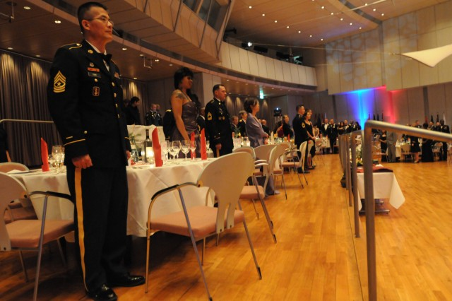 The U.S. Army Europe Commanding General, Lt. Gen Mark Hertling along with Soldiers and Leaders from across 30th Medical Command and Army Medicine, gathered at the Best Western Palatin in Wiesloch, Germany December 10, for the 30th MEDCOM Holiday Ball. (U.S. Army photo by Sgt. 1st Class Christopher Fincham)