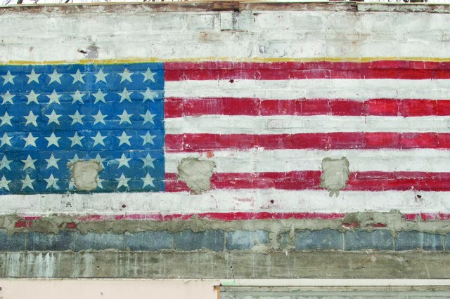 The uncovered murals included an image of the flag of the United States with 48 stars.