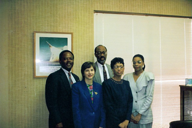 Members of the High Endo-Atmospheric Interceptor (HEDI) project at U.S. Army Space and Missile Defense Command/Army Forces Strategic Command from 1990-1993 are from left, Bill Reeves, Gisele Wilson, Robert Franklin, Clara Moore and Alice Gardner.