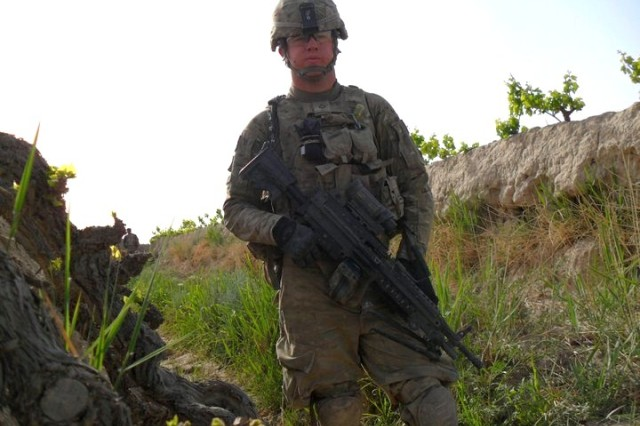 Pfc. Kyle Hockenberry deployed with Soldiers from 4th Squadron, 4th Cavalry Regiment, 1st Heavy Brigade Combat Team, 1st Infantry Division, in February of 2011. The 19-year-old Soldier was injured less than four months later when an improvised explosive device exploded next to him during a June 15 patrol outside of Haji Ramuddin. The blast cost Hockenberry both legs and his left arm.