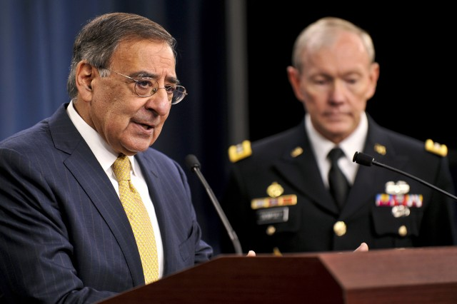 Panetta briefs media on defense strategy