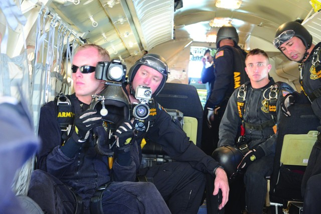 The Golden Knights get ready for a jump at Fort Bliss, Texas, Oct. 22, 2011.