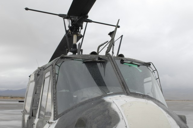 A UH-1H Huey sits on the tarmac at Barstow-Daggett Airfield during the aircraft's retirement ceremony Dec. 13.