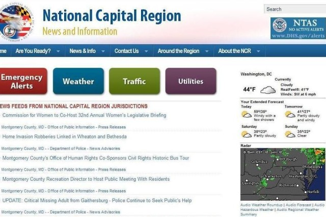 A screen capture of the Capital Region Updates homepage.