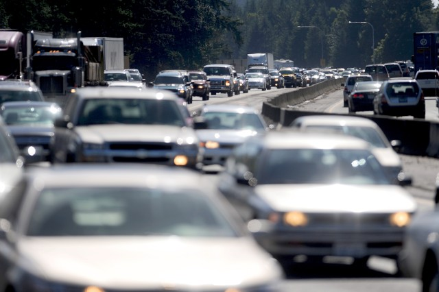 Traffic crawls past JBLM along I-5 during a recent commute. A new federal grant should help ease congestion.