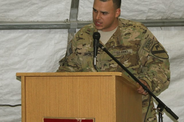 A Soldier from the 1st Air Cavalry Brigade speaks during a ceremony that honored Martin Luther King Jr. Dec. 10.