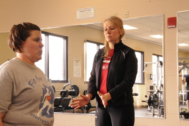 Heather Jorde, right, works with Cora Leigh Clark during a personal training session at Monti Physical Fitness Center. Jorde is one of two personal trainers at Fort Drum. Photo by Jennifer Caprioli