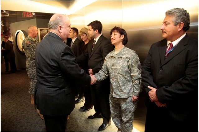 Under Secretary of the Army Dr. Joseph W. Westphal recognizes, Master Sgt. Silvia Realdegarcia, an operations NCOIC assigned to U.S. Army Cyber Command, for her dedication and selfless service during an awards ceremony. Westphal visited U.S. Army Cyber Command Headquarters at Fort Belvoir, Va., Jan 10, to gain situational awareness and ensure the Army is correctly prioritizing, balancing and integrating resources to support the mission of this newly-established and mission-critical organization.