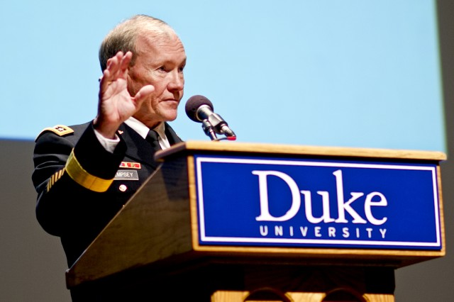 Gen. Martin E. Dempsey, chairman of the Joint Chiefs of Staff, addresses the audience as a keynote speaker during the Ambassador S. Davis Phillips Family International Lecture series at Duke University in Durham, N.C., Jan. 12, 2012.