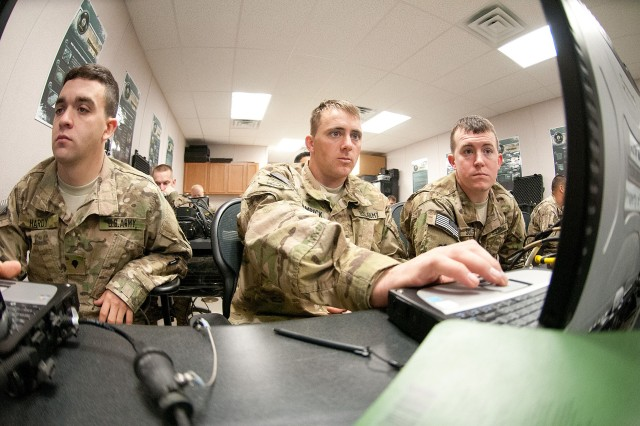 Paratroopers with the 82nd Airborne Division's 1st Brigade Combat Team learn to interface with the feeds from unmanned aerial vehicles, Jan. 10, 2012, at the Joint Readiness Training Center, Fort Polk, La.  UAVs are commonly used for battlefield surveillance.