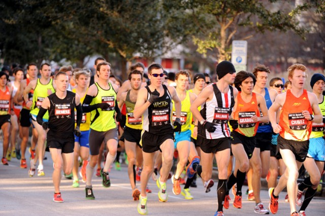 U.S. Army World Class Athlete Program runner Maj. Dan Browne, 36, who doubled in the marathon and 10,000 meters at the 2004 Olympic Games in Athens, Greece, runs the final race of his career at the 2012 U.S. Olympic Marathon Team Trials on Jan. 14, 2012, in Houston, Texas. He finished 85th with a time of 2:42:21.
