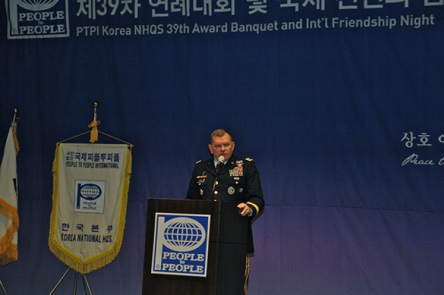 Gen. James Thurman, the United Nations Command, Combined Forces Command, United States Forces Korea commanding general, speaks to the crowd at the 39th annual Award Banquet and International Friendship Night Jan. 13. During his speech, Thurman mentioned the South Korean-U.S. alliance, calling it one of the strongest alliances in the world.