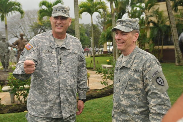 Army Chief of Staff Gen. Raymond T. Odierno visits Maj. Gen. Bernard S. Champoux, commanding general, 25th Infantry Division, Jan. 17, 2012, at Schofield Barracks, Hawaii.