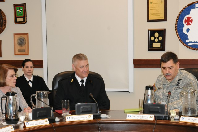 Sgt. Maj. of the Army Raymond F. Chandler III (center) with wife, Jeanne (left), and Maj. Gen. Simeon G. Trombitas (right), U.S. Army South commanding general, during Chandler's visit to U.S. Army South, where he received a mission brief on  Jan. 6, 2012, before holding a town hall for the Soldiers of Army South.