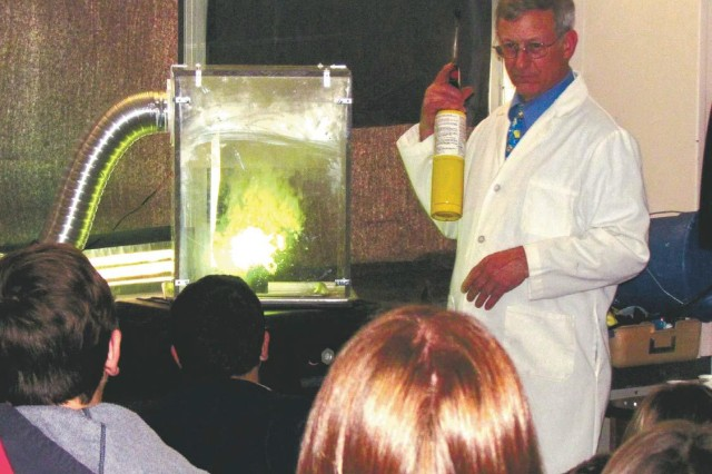 ECBC Pyrotechnics Engineer Joseph Domanico engages more than 100 Bel Air High School students in the science behind pyrotechnics, while intertwining chemistry with its practical application in pyrotechnics.