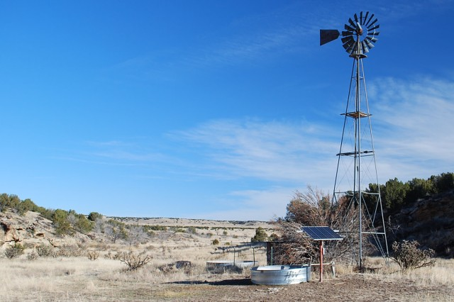 FORT CARSON, Colo. -- This windmill was converted to solar and pumps water at a critical site for wildlife at Piñon Canyon Maneuver Site.