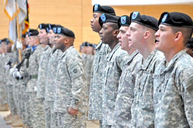 "V Corps Soldiers sing the ""Army Song"" at the Change of Command Ceremony in Wiesbaden, Germany, welcoming new senior leader, Lt. Gen. James Terry."