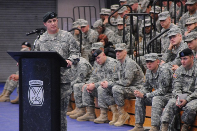 Brig. Gen. Harry E. Miller Jr. thanks Fort Drum Soldiers, Families and civilians for the support they provided to him during the past 16 months during a Mountain Farewell Ceremony on Jan. 17.