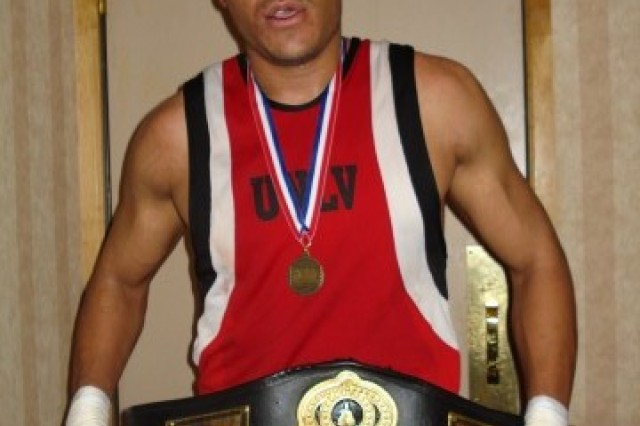 Sgt. Charles Blackwell, then a UNLV fresman, poses after his win at the 2007 College Nationals. Blackwell entered field with only five career amateur fights.