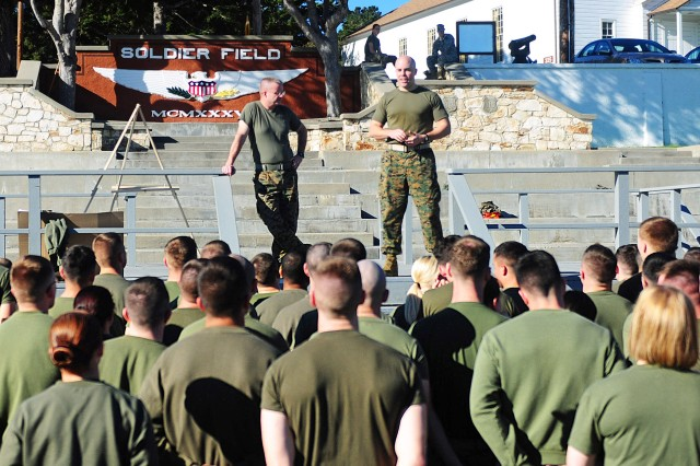 PRESIDIO OF MONTEREY, Calif. - Marine Corps Detachment Presidio of Monterey Commander Lt. Col. Edward R. Sullivan addresses his Marines after the Jan. 13 Field Meet competition to talk about inequality and the meaning of Martin Luther King Jr. Day.