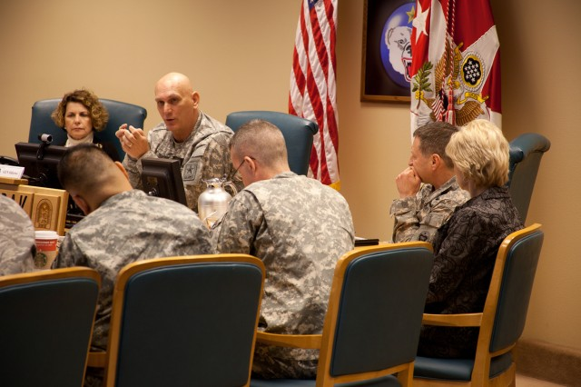 Chief of Staff of the Army Gen. Raymond T. Odierno speaks to members of the U.S. Army Alaska staff during a Jan. 20, 2012, visit to Joint Base Elmendorf-Richardson, Alaska.