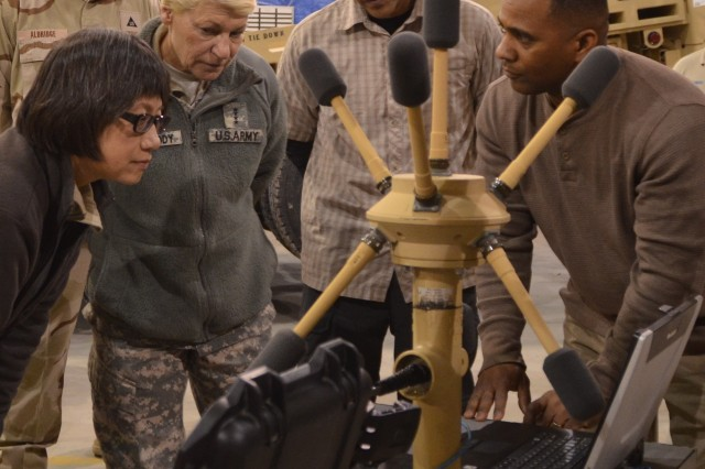 Heidi Shyu, acting assistant secretary of the Army for Acquisition, Logistics and Technology, and Gen. Ann E. Dunwoody, commanding general, Army Materiel Command, watch intently as Tony Howell, boomerang field service representative conducts a shot test on the BMGIII acoustic gunshot detection system to demonstrate system capabilities at Bagram Airfield Jan. 20. Watching are Tobey Aldridge, product manager, forward looking infrared, theater lead, and J.R. Ybarra, boomerang FSR.