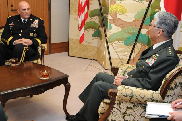 Army Chief of Staff Gen. Raymond T. Odierno, left, speaks with Gen. Eiji Kimizuka, his counterpart with the Japan Ground Self-Defense Force, during a Jan. 19, 2012, visit to the JGSDF headquarters at Camp Ichigaya in Tokyo.
