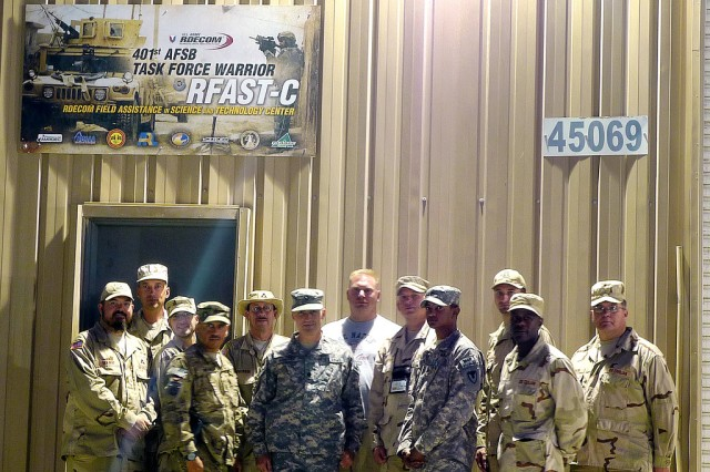 Members of the U.S. Army Research, Development and Engineering Command Field Assistance in Science and Technology-Center at Bagram Airfield, Afghanistan, from left: Franklin George VanWhy Jr., Bernie Rice, Scott Smith, Sgt. Maj. Matt DeLay, Dave Tomkinson, Lt. Col. Alan Samuels, Keith Sheridan, Marty Eaton, Sgt. John Malloy, Jim Grantizki, Michael Fields, Kevin Washok.