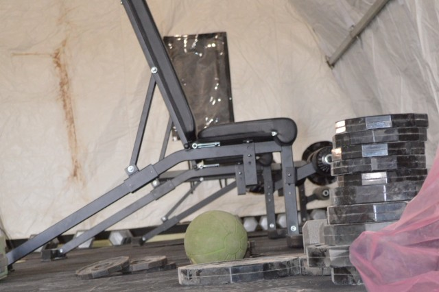 New gym equipment is being added the gym that was recently built on the Army Materiel Command at Shindand Airbase.  The new gym will support the increased number of personnel being stationed there to accomplish the retrograde mission.