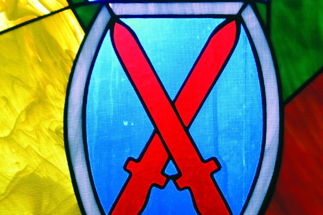 The 10th Mountain Division (LI) crest at Fort Drum's Main Post Chapel.