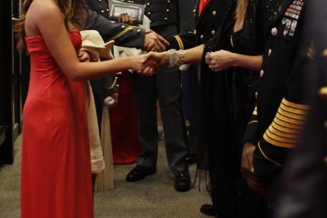 A formal reception kicked off 500th Night for the Class of 2013 at Eisenhower Hall Jan. 21. West Point cadets introduced their invited guests to senior leaders in receiving lines outside the reception hall. One floor below, long lines formed as couples awaited to have their pictures taken to capture the special weekend for the junior class.