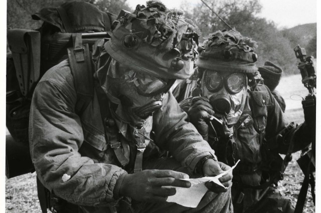 FORT CARSON, Colo. -- Soldiers participate in nuclear, biological, chemical training at Fort Carson during the Cold War.
