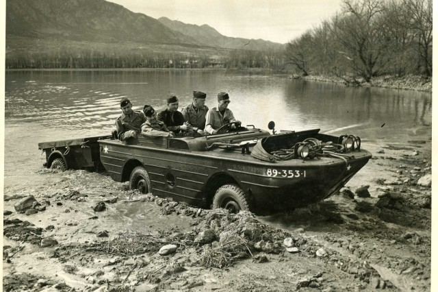 "FORT CARSON, Colo. -- Officers train in a Ford GPW Jeep in a lake that used to fill Ironhorse Park. Built in the early 1940s, the amphibious vehicle was referred to as a ""Jeep in a bathtub."""