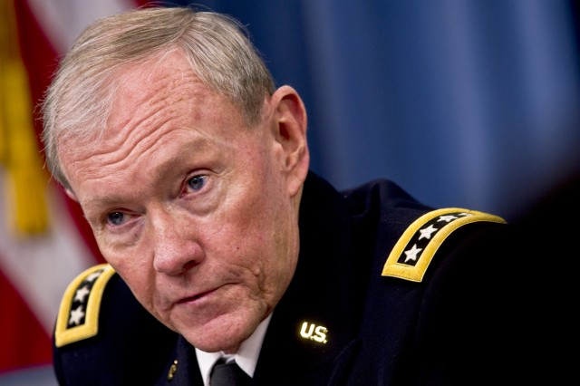 Gen. Martin E. Dempsey, chairman of the Joint Chiefs of Staff, briefs the press on major budget decisions stemming from the defense strategic guidance at the Pentagon, Jan. 26, 2012.
