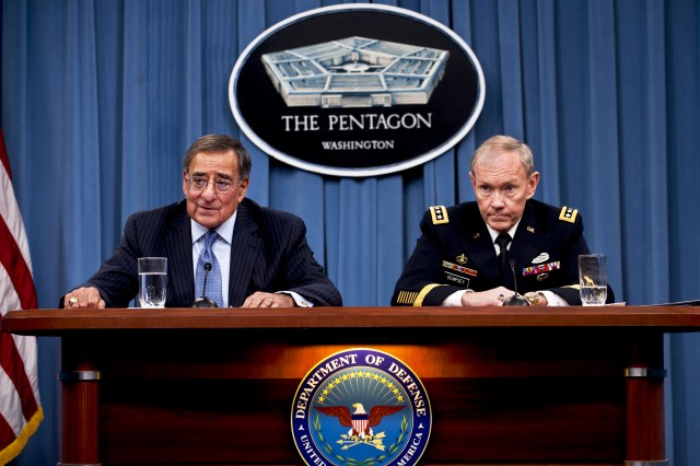 Defense Secretary Leon E. Panetta and Army Gen. Martin E. Dempsey, chairman of the Joint Chiefs of Staff, brief the press on major budget decisions stemming from the defense strategic guidance at the Pentagon, Jan. 26, 2012.