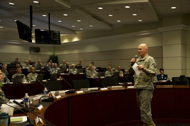 """FORT EUSTIS, Va. -- Gen. Robert W. Cone, commanding general of U.S. Army Training and Doctrine Command, tells more than 40 general officers from across the Army to """"...be mindful of the big ideas because TRADOC has to get them right for the Army of 2020"""" during a general officer operational assessment workshop at TRADOC headquarters Jan. 25. During the workshop, active-duty, Reserve and National Guard officers reviewed emerging concepts associated with the Army of 2020 and provided feedback on the proposals. (U.S. Army photo by Sgt. Angelica Golindano)"""