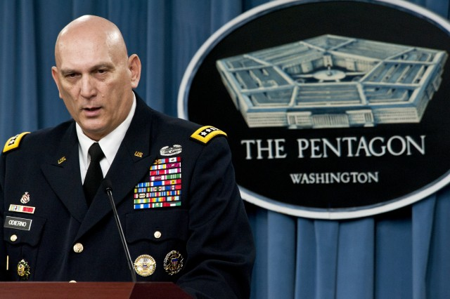 Army Chief of Staff Gen. Raymond T. Odierno briefs the press at the Pentagon, Jan. 27, 2012. Odierno discussed the impact of the Defense Department's strategic guidance on the Army.