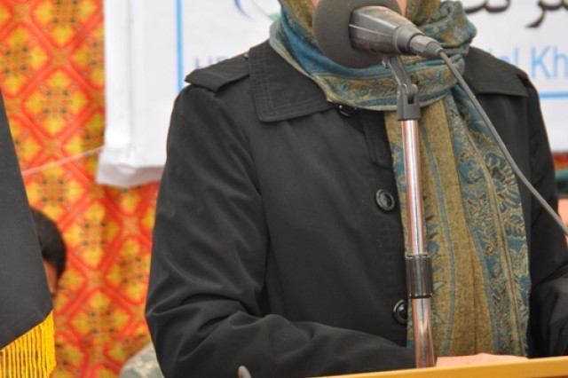 Dr. Suraya Dalil addresses the audience at the Shindand Hospital ground breaking ceremony, Jan. 28.  The U.S. Army Corps of Engineers is overseeing construction of the $5 million project and expects it to be complete in October 2012.