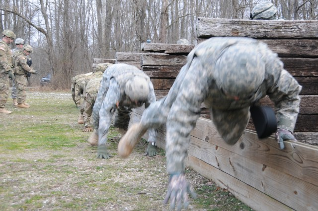 Soldiers from Kentucky Argibusiness Development Team 4, along with First Army East instructors, practice grenade safety drills during mobilization training at Camp Atterbury Joint Maneuver Training Center in Indiana, in preparation for the ADT's upcoming deployment to Afghanistan.