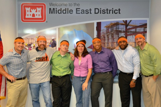 From left, Pete DeMattei, Blake Burd, Shaun Baublitz, Cecilia Mayer, Rippert Roberts, Jason Dalton and Erick Barnes are the Middle East District's Tough Mudders.