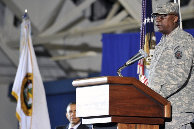 Gen. Lloyd J. Austin, III formor United States Forces- Iraq commander speaks during the return of the USF-I colors ceremony, Dec 20, 2011 at Joint Base Andrews, Md. The ceremony marks the end of the 2nd longest war in U.S. History.