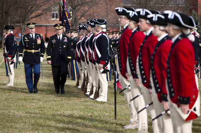 Col. David P. Anders, commander, 3rd U.S. Infantry Regiment (The Old Guard) escorts Gen. Peter W. Chiarelli, 32nd Army vice chief of staff, to inspect the troops during Chiarelli's retirement ceremony on Joint Base Myer-Henderson Hall, Va., Jan. 31, 2012.